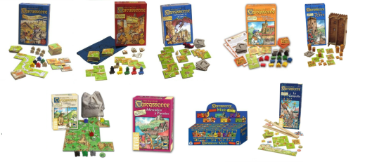 imagen de muestra cajas expansiones juego de mesa carcassonne